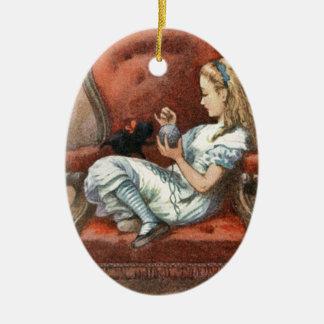 Alice and her Kitten Ceramic Ornament