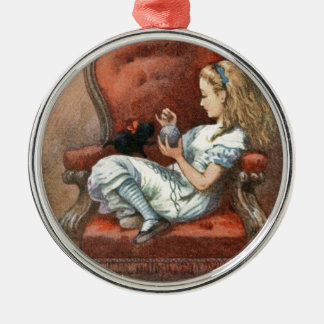 Alice and her Kitten Metal Ornament