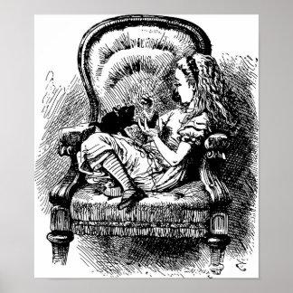 Alice and Kitten Illustration Poster