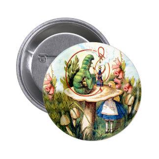 Alice and the Caterpillar in Wonderland 2 Inch Round Button