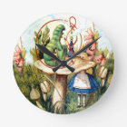 Alice and the Caterpillar in Wonderland Round Clock