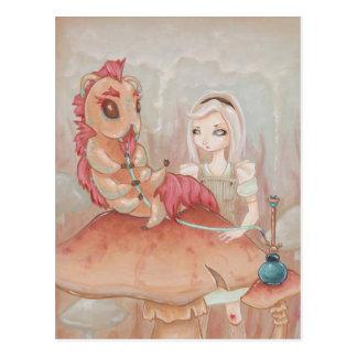 Alice and the Caterpillar -wonderland art postcard