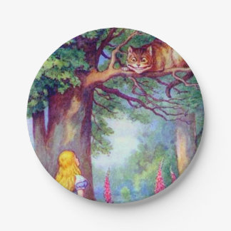 Alice and the Cheshire Cat 7 Inch Paper Plate