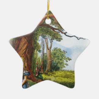 Alice and the Cheshire Cat Ceramic Star Ornament