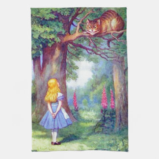 Alice and the Cheshire Cat Full Color Kitchen Towel