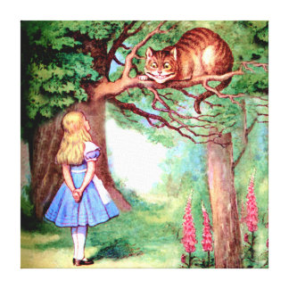 Alice and the Cheshire Cat in Wonderland Stretched Canvas Prints