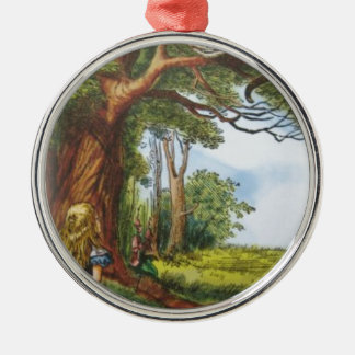 Alice and the Cheshire Cat Metal Ornament
