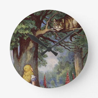 Alice and the Cheshire Cat Round Clock