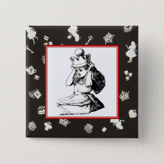 Alice and the Crown 2 2 Inch Square Button
