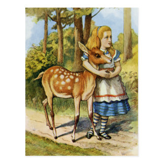 ALICE AND THE DOE, A DEER, A FEMALE DEER POSTCARD