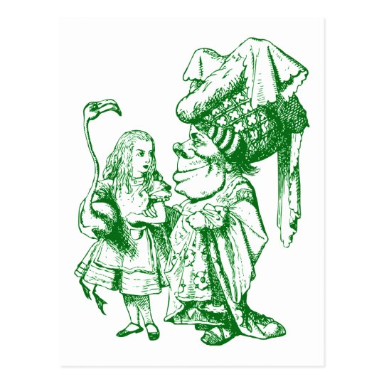 Alice and the Duchess Inked Green Postcard
