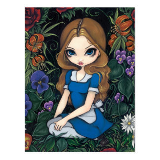 """Alice and the Flowers"" Postcard"