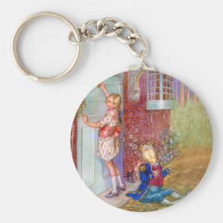 Alice and The Frog Footman At The Duchess' Doorway Basic Round Button Keychain