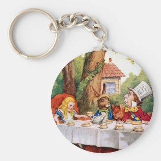 Alice and the Mad Hatter's Tea Party in Wonderland Basic Round Button Keychain