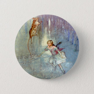 Alice and the Mouse Swim in the Pool of Tears 2 Inch Round Button
