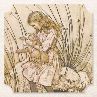 Alice and the Pig Baby 1 Paper Coaster