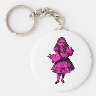 Alice and the Pig Baby Pink Fill Basic Round Button Keychain