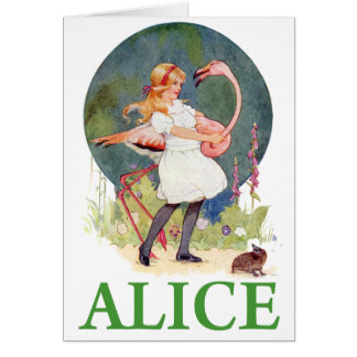 ALICE AND THE PINK FLAMINGO PLAY CROQUET CARD