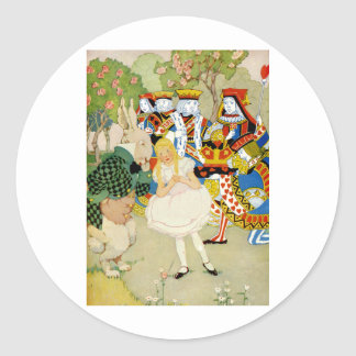 Alice and the Rabbit in the Queen of Hearts' Court Classic Round Sticker