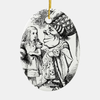 Alice and the Red Queen Ceramic Oval Ornament