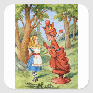 Alice and the Red Queen in Wonderland Square Sticker
