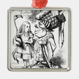 Alice and the Red Queen Metal Ornament