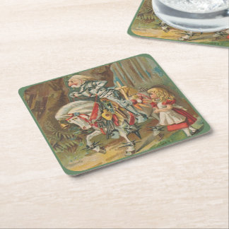 Alice and the White Knight Square Paper Coaster