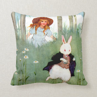 Alice and The White Rabbit In Wonderland Throw Pillow