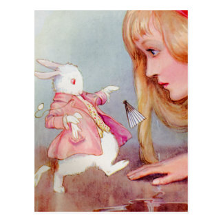 ALICE AND THE WHITE RABBIT POSTCARD
