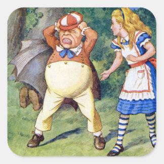 Alice and Tweedledee in Wonderland Square Sticker
