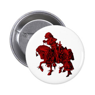 Alice and White Knight Inked Red Fill 2 Inch Round Button