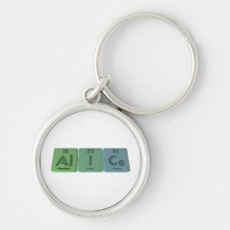 Alice as Aluminium Iodine Cerium Silver-Colored Round Keychain