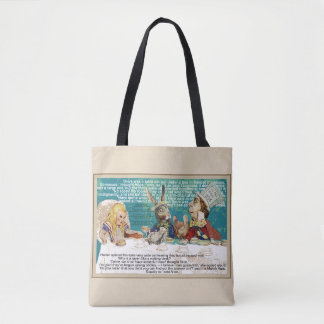 Alice at the Mad Hatter's tea party Tote Bag