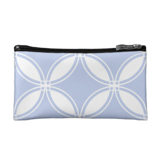 Alice Blue Quatrefoil in an English Country Garden Cosmetic Bags
