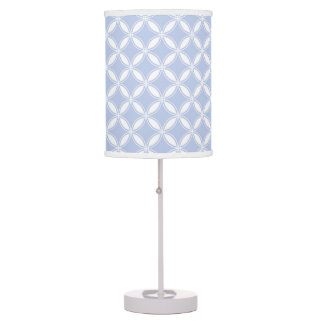 Alice Blue Quatrefoil in an English Country Garden Table Lamp