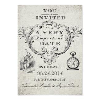 Alice dans le faire-part de mariage du pays des carton d'invitation  12,7 cm x 17,78 cm