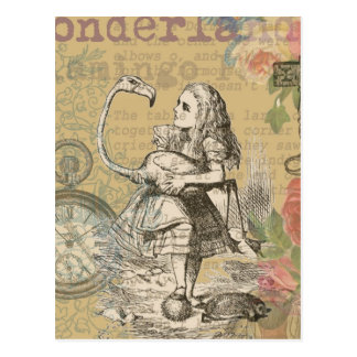 Alice dans le flamant du pays des merveilles carte postale