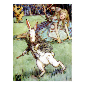 Alice Encounters a Rabbit Distraction Postcard