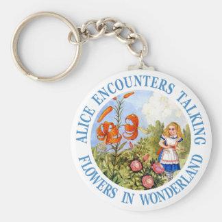Alice Encounters Talking Flower in Wonderland Basic Round Button Keychain