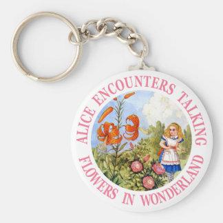 Alice Encounters Talking Flowers In Wonderland Basic Round Button Keychain