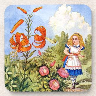 Alice Encounters Talking Flowers in Wonderland Drink Coasters