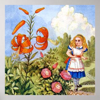 Alice Encounters Talking Flowers in Wonderland Poster
