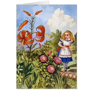 ALICE ENCOUNTERS THE TALKING FLOWERS CARD
