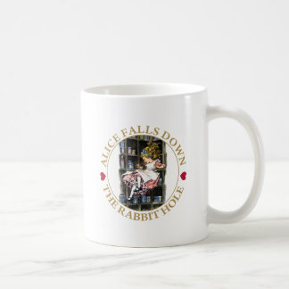 ALICE FALLS DOWN THE RABBIT HOLE COFFEE MUG