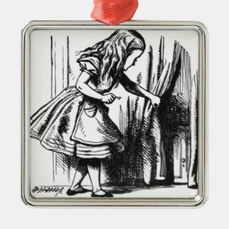 Alice Finds a Door Silver-Colored Square Ornament