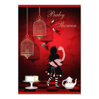Alice & Flamingo Birds & Cages Baby Shower Card