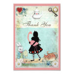 "Alice, Flamingo & Cat Baby Shower Thank You 3.5"" X 5"" Invitation Card"