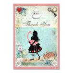 "Alice, Flamingo & Cat Bridal Shower Thank You 3.5"" X 5"" Invitation Card"