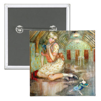 Alice Grows Too Big for the House in Wonderland 2 Inch Square Button