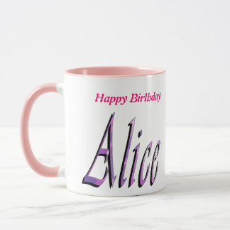 Alice, Happy Birthday, Pink Combo Coffee  Mug